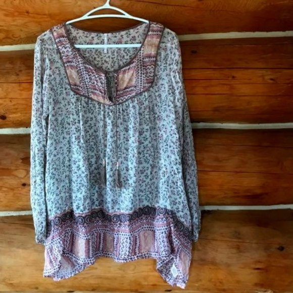 Free People Long Sleeve Boho Floral Top-Small